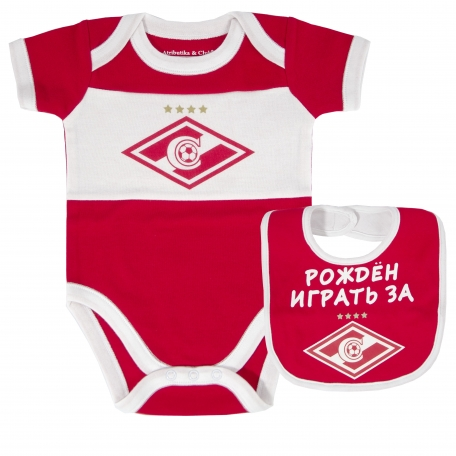 Комплект боди + нагрудник Спартак-Красно-белый-0-3